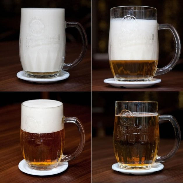 Four different Pilsner Urquell pours. Sweet (top left), Slice (top right), Creme (bottom left), Neat (bottom right).